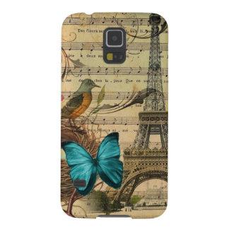 Blue butterfly Robin bird nest Paris Eiffel Tower Cases For Galaxy S5