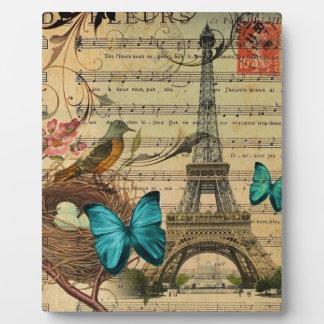 Blue butterfly Robin bird nest Paris Eiffel Tower Plaque