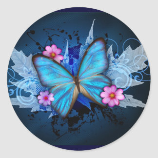 Blue Butterfly Round Sticker