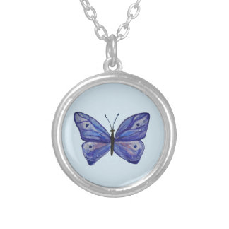 Blue Butterfly  Silver Plated Round Necklace