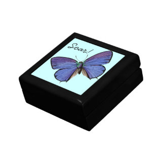 Blue Butterfly Soar! Box Small Square Gift Box