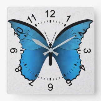 Blue Butterfly Square Wall Clock