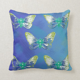 Blue Butterfly Stamp Design Throw Pillow