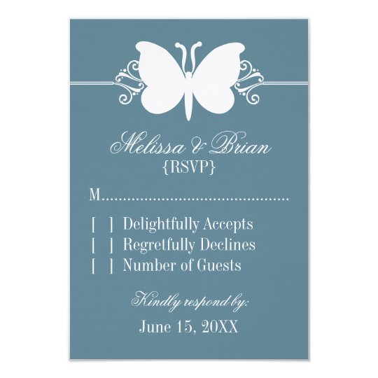 Blue Butterfly Swirls Wedding Response Card