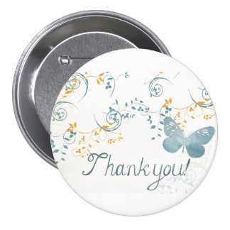 Blue Butterfly Thank You 7.5 Cm Round Badge
