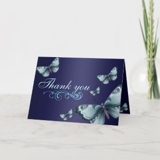 Blue Butterfly Thank You Card card