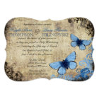 Blue Butterfly Vintage Wedding Invitation