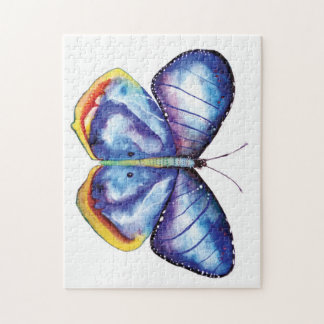 Blue Butterfly Watercolor Photo Puzzle Gift Box