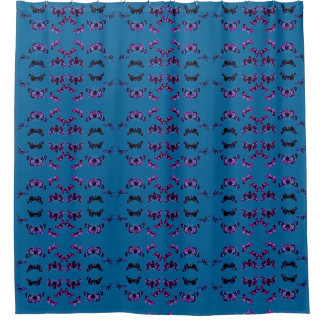 Blue Butterfly Wave Shower Curtain