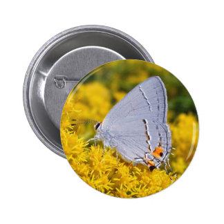 Blue Butterfly Wildflower Button