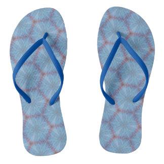 Blue Butterfly Wing Geometric Flip Flops