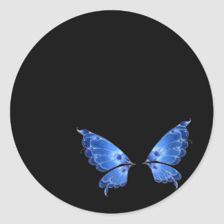 Blue Butterfly Wings Round Sticker