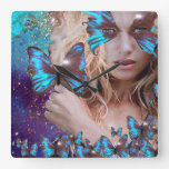 BLUE BUTTERFLY WITH GREEN GOLD SPARKLES