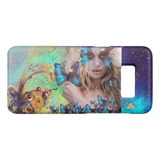 BLUE BUTTERFLY WITH GREEN GOLD SPARKLES MONOGRAM Case-Mate SAMSUNG GALAXY S8 CASE
