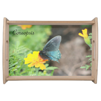 Blue Butterfly Yellow Coreopsis Small Serving Tray