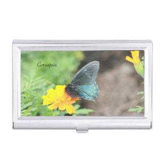 Blue Butterfly Yellow Coreopsis Summer Card Holder