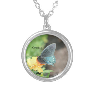 Blue Butterfly Yellow Coreopsis Summer Products Silver Plated Necklace