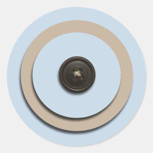 Blue Buttons & Brackets Envelope Seals Round Stickers