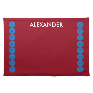 Blue Buttons on Red Personalized Place Mat