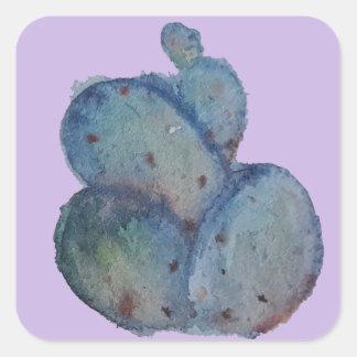 Blue cactus square sticker