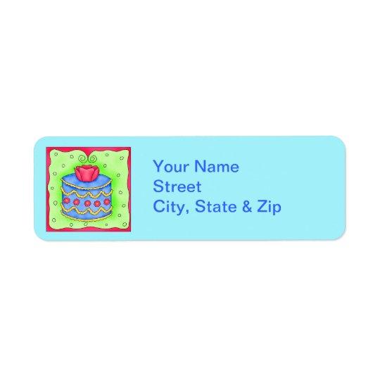 Blue Cake with Rose Turquoise Return Address Label