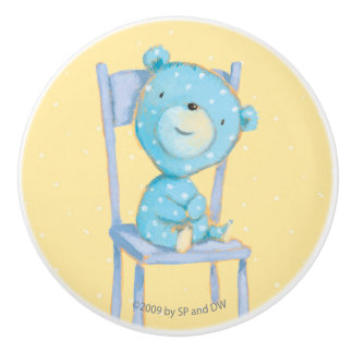 Blue Calico Bear Smiling on Chair Ceramic Knob