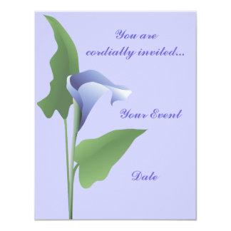 Blue Calla Lily Floral Invitation