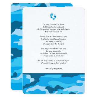 Blue Camo baby shower thank you note with poem Card
