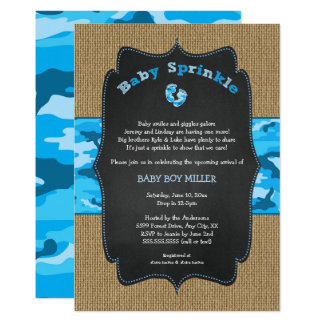 Blue Camo Baby Sprinkle Invite, camouflage burlap Card