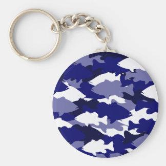Blue Camo Bass Fishing Key Ring