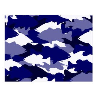 Blue Camo Bass Fishing Postcard