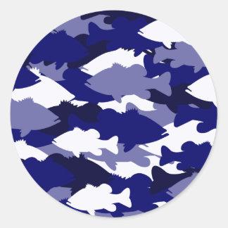 Blue Camo Bass Fishing Round Sticker