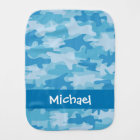 Blue Camo Camouflage Name Personalised Burp Cloth