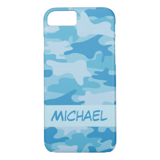 Blue Camo Camouflage Name Personalised iPhone 8/7 Case