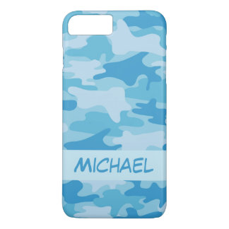 Blue Camo Camouflage Name Personalised iPhone 8 Plus/7 Plus Case