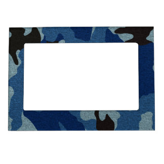 Blue Camo Faux Cloth Magnetic Picture Frame