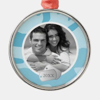 Blue Camo Pattern and Dog Tags Photo Silver-Colored Round Decoration