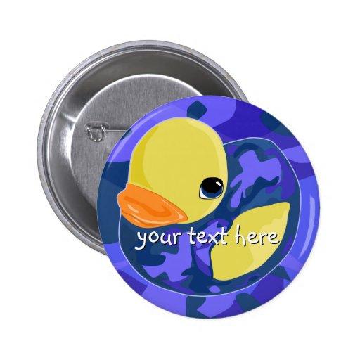 Blue Camo Rubber Ducky Pinback Button