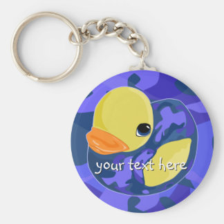 Blue Camo Rubber Ducky Basic Round Button Key Ring