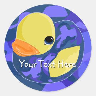 Blue Camo Rubber Ducky Round Sticker