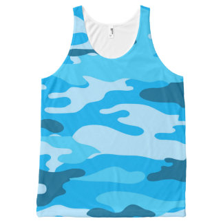Blue Camo tank top, camouflage shirt All-Over Print Tank Top