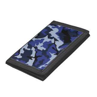 Blue Camo, TriFold Nylon Wallet