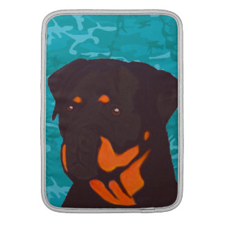 Blue Camo with Rottweiler MacBook Sleeve