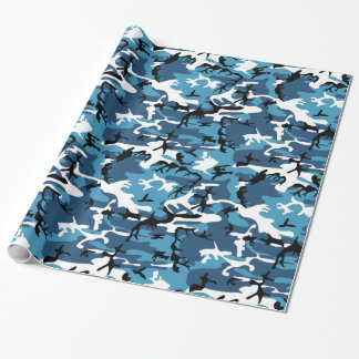 Blue Camo Wrapping Paper