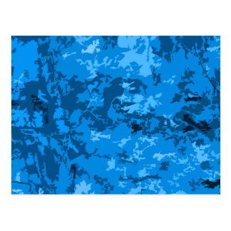 Blue Camouflage Abstract Pattern Design Postcards