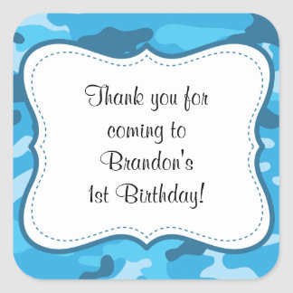 Blue Camouflage Birthday Party favor label boy