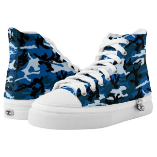 Blue Camouflage high tops Printed Shoes