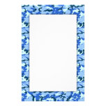 Blue Camouflage Military Background Custom Stationery