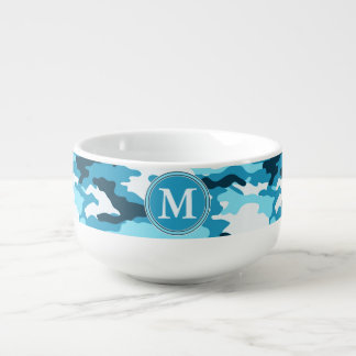Blue Camouflage Pattern Initial Monogram Soup Mug
