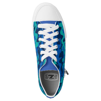 Blue Camouflage Pattern Low Tops